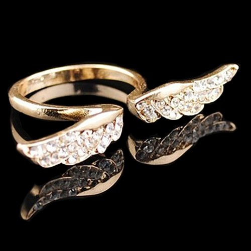 Acamifashion Women's Vintage Retro Angel Wing Gold Plated Adjustable Open Rings Jewelry by Acamifashion (Image #2)
