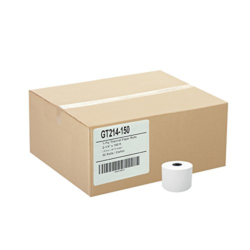 (50) 1ply Thermal Paper Rolls 2-1/4 X 150 by Gorilla Supply