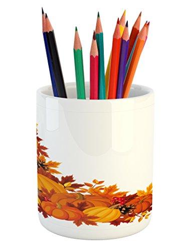 - Lunarable Pumpkin Pencil Pen Holder, Autumn Leaves and Fruits on Fall Season Arrangement Pine Cone Cranberries, Printed Ceramic Pencil Pen Holder for Desk Office Accessory, Orange Brown Yellow