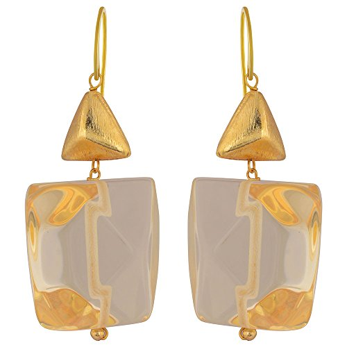 Shaze Gold Colored Crystal Prism Earrings for Women by shaze