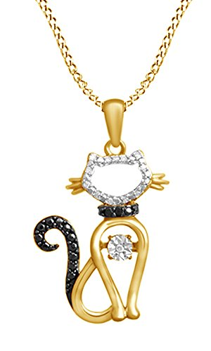 Black and White Dancing Natural Diamond Accent Cat Pendant Necklace in 925 Sterling Silver (0.05 Ct)