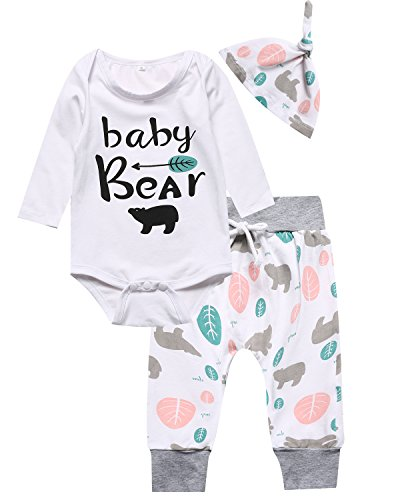 Catmama Outfit Set 3PCS Baby Boys Girls Baby Bear Long Sleeve Rompers