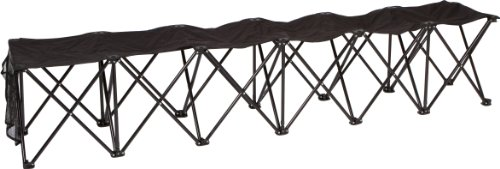 Trademark Innovations Portable 6 Seater Sports Bench Sits, Black