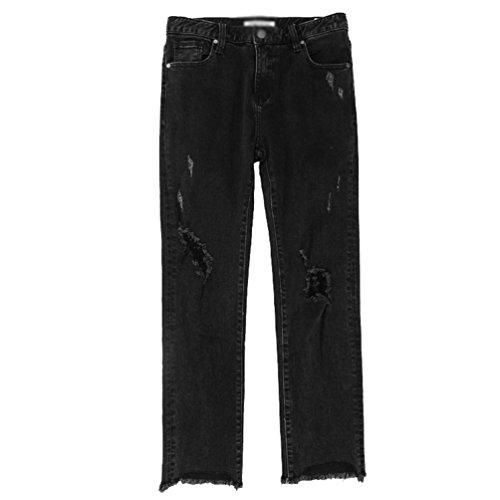 CHENGYANG Femmes Pantalon Jeans Slim Trous Dchir Crayon Collants Denim Pantalons Jeans Noir
