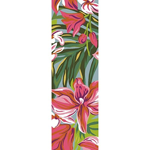 Diva At Home 2.5' x 8' Tropical Forest Getaway Hot Pink, Burnt Sienna and Woodland Green Area Throw Rug Runner (Wool Burnt Sienna Rug)