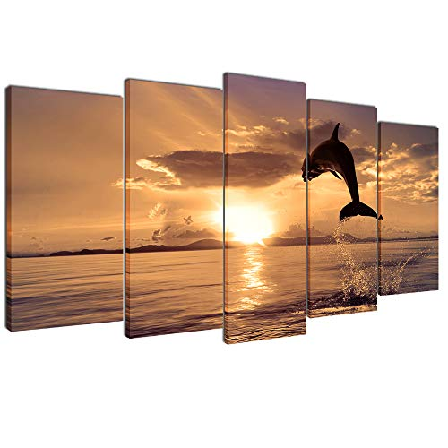 (Multicolour Art Dolphins Leaping in Sunset Canvas Print Picture for Living Room Decoration Stretched 5 Panels XLarge Painting Wall Art Picture Print on Khaki Canvas- High Definition Modern Home Decor)