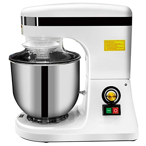 KITMA 7QT Commercial Adjustable Food Mixer - 270W Multiple Speed Countertop Tilt-Head Electric Stand Mixer with Stainless Steel Bowl, Dough Hook, Beater, Whisk