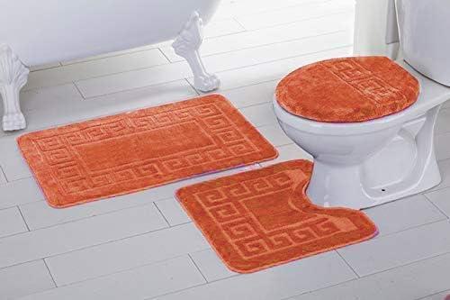 Contour Mat Orange Lid Cover Non-Slip with Rubber Backing Greek Key Design Solid Color # Laura Elegant Homes 3 Piece Bathroom Rug Set Bath Rug