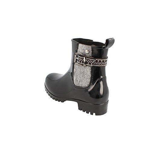 GOSCH calza botas de goma negra de las señoras 7105502-921 negro / plateado