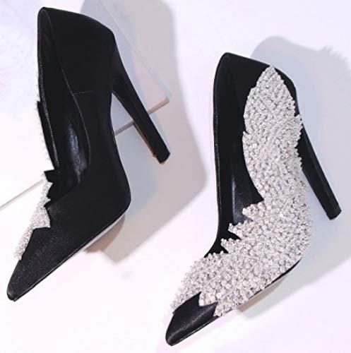 Femmes en de Black MSM4 Satin d'automne Printemps Chaussures wagg6