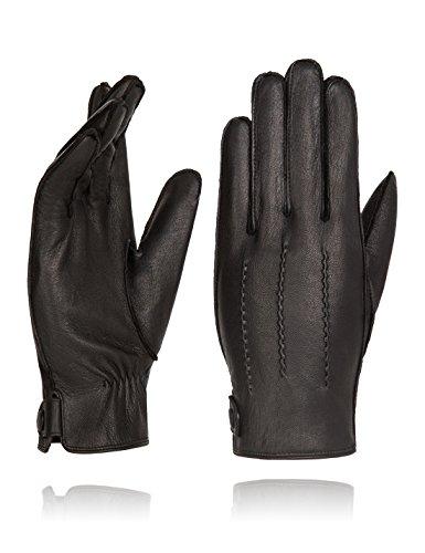 Genuine Deerskin Driving Gloves - YISEVEN Men's Genuine Deerskin Leather Super Soft Lining Winter Driving Gloves,Black,9