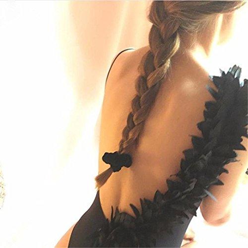 Materiale Superiore Fiori Costumi Costume Bagno Poliestere Swimwear Sling Nero Tinta Intero In Decorazione Da Tridimensionale Unita Donna Longra q7IIwXar