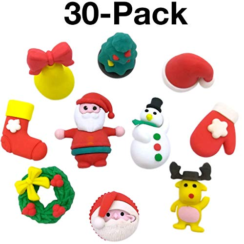 OHill Pack of 30 3D Christmas Pencil Erasers Christmas Puzzle Erasers Novelty Erasers for Kids Christmas Party Favors Supplies Xmas Gift