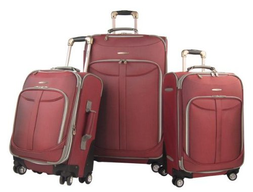 Wheeled Set Piece 3 Luggage (Olympia Luggage  Tuscany 3 Piece Spinner Expandable Luggage Set,Red,One Size)