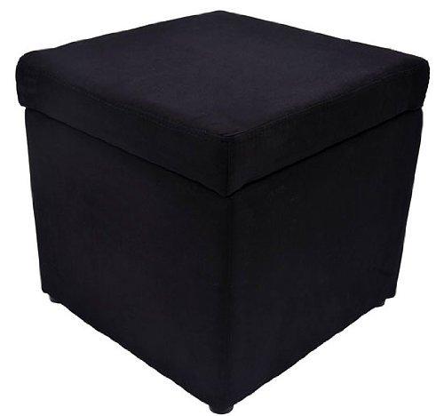 HomCom Square Microfiber Storage Ottoman - Black - Microfiber Ottoman