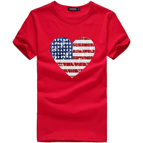 TUSANG Women's Tees Loose American Flag Short-Sleeved Printed T-Shirt Top Blouse Casual Slim Fit Comforty - Studded Flag
