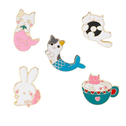 - Winzik Novelty Cartoon Lapel Brooch Pins Set 5pcs Cute Cat Mermaid Rabbit Cup Series Enamel-liked Badges for Women Girls Child Clothes Backpacks Decor