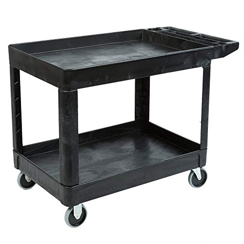 Rubbermaid Commercial Products 2-Shelf Utility/Service Cart, Medium, Lipped Shelves, Storage Handle, 500 lbs. Capacity, for Warehouse/Garage/Cleaning/Manufacturing (FG452089BLA) ()