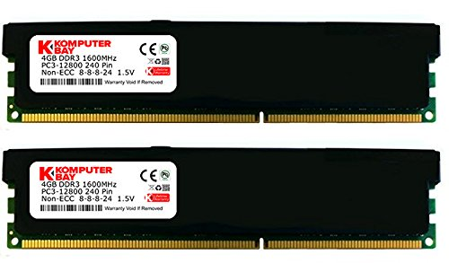 Komputerbay 8GB (2x 4GB) DDR3 DIMM (240 pin) 1600Mhz PC3 12800 8 GB KIT Desktop memory with black heatspreader for extra cooling CL 8 timing 8-8-8-24 1.5V