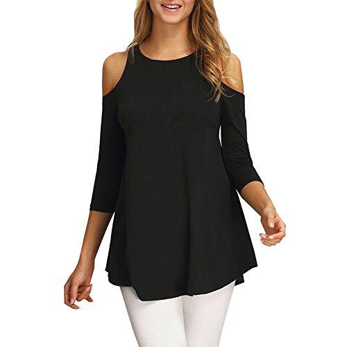 Moguer Women's Loose 3/4 Sleeve Shoulder Cut Out Tunic Tops T shirt Black XL