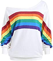 FACAIAFALO Womens Casual Rainbow Print Off Shoulder Blouse Plus Size Baggy Pullover Tops Fashion Sweater Cute