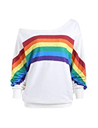 OCEAN-STORE Women Long Sleeve T-Shirt Off Shoulder Loose Rainbow Print Pullover Sweatshirt