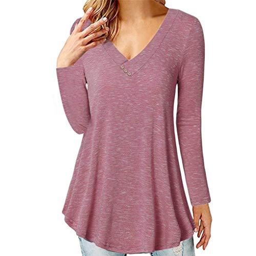 [S-2XL] レディース Tシャツ Vネック ボタン 無地 長袖 トップス おしゃれ ゆったり カジュアル 人気 高品質 快適 薄手 ホット製品 通勤 通学