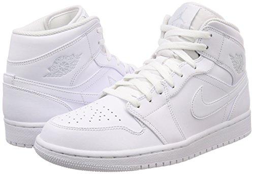 Platinum Hombre Blanco White white de Zapatillas 104 Nike Pure Mid 1 Air Jordan Deporte para K8q7H