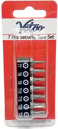 7 Piece Security Torx Bit Set (T7 - T25)