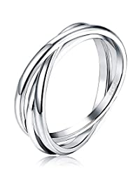 LOYALLOOK 925 Sterling Silver Triple Interlocked Rolling High Polish Ring Dome Tarnish Resistant Wedding Band Ring Sizes 6-11