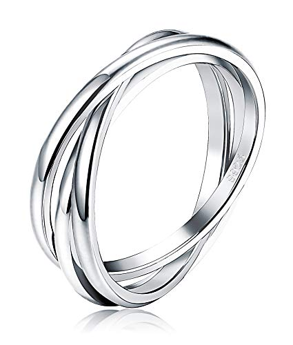 LOYALLOOK 925 Sterling Silver Triple Interlocked Wedding Ring for Men Women Rolling High Polish Thumb Ring Stackable Size (Triple Band Thumb Ring)