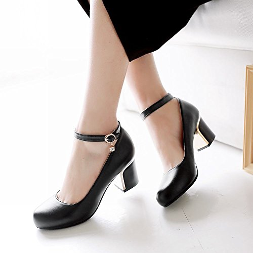Mee Shoes Sexy High-heel Block-heel PU Leather Mary Jane Shoes Black Ry3xQ