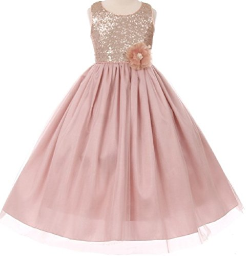Little Girls Matte Sparkly Sequin Shiny Tulle Corsage Flower Girl Dresses Rose 6 (Rose Flower Girl Dress)