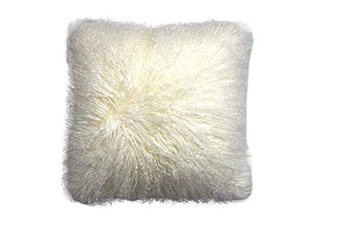 - ROSE FEATHER Real 100% Tibetan Mongolian Lamb Sheepskin Wool Fur Super Soft Plush Leather Pillowcase Cushion Cover,White 20x20inch