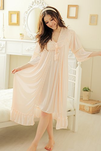 Camellia12 Fantastic Satin Robe Set Lace Chemise Full Slips with Victorian Robe by Camellia12 (Image #2)