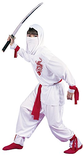 [Kids-costume White Ninja Deluxe Child Med Halloween Costume - Child Medium] (White Ninja Costumes For Kids)