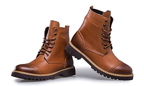 TDA Mens Modern Warm High Top Leather Combat Martin Boots Brown yyr8i9
