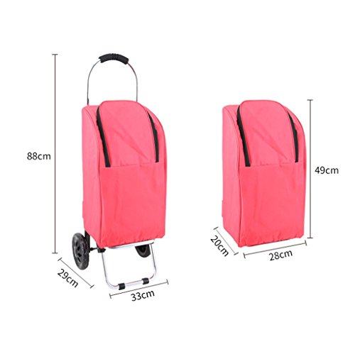 Handcart Hand Truck Insulation Space Aluminum Tube Trolley Folding Pull Rod Luggage Cart Portable Home Waterproof Shopping Cart 25 Kg Load (Color : Pink) by Hw Ⓡ Handcart (Image #1)