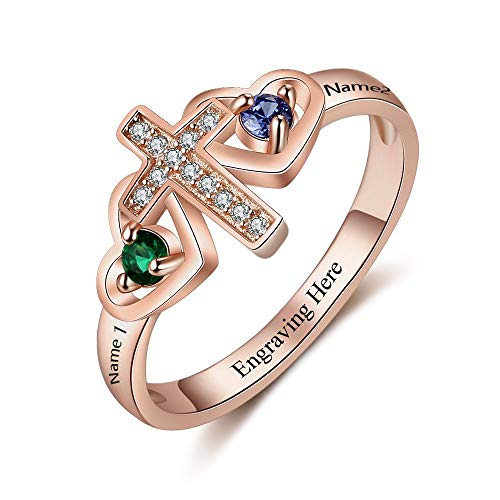 Lam Hub Fong Personalized Cross Ring for Women Engravable 2 Simulate Birthstones Mothers Cross Rings Promise Rings Rose Gold (Size 6)