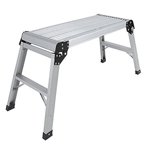 Eight24hours Aluminum Platform Drywall Step Up Folding Work Bench Stool Ladder - Z2