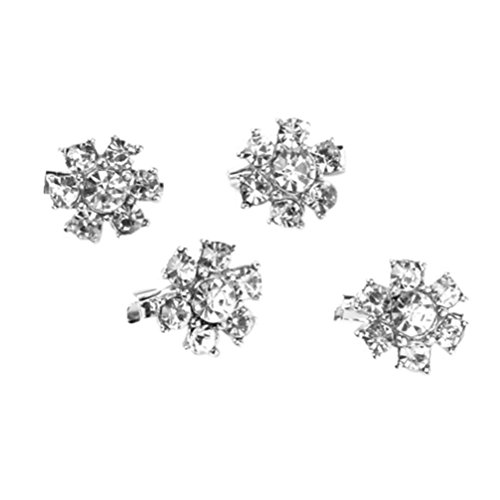 Tinksky Rhinestone Flower Clothes Decoration 4pcs
