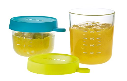 BEABA Glass and Silicone Baby Food Containers with Airtight Lid, Set of 2, 5 oz and 8 oz Jars (Peacock)