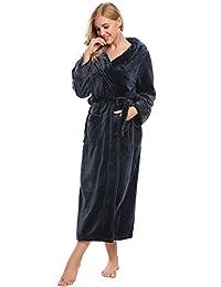 Ekouaer Womens Fleece Long Hooded Bathrobe Plush Thick Winter Robes