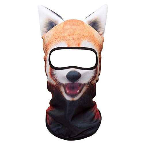 (WTACTFUL 3D Animal Ears Balaclava Windproof Face Mask Cover Protection for Music Festivals Raves Halloween Party Riding Skiing Snowboarding Snowmobile Funny Red Panda)