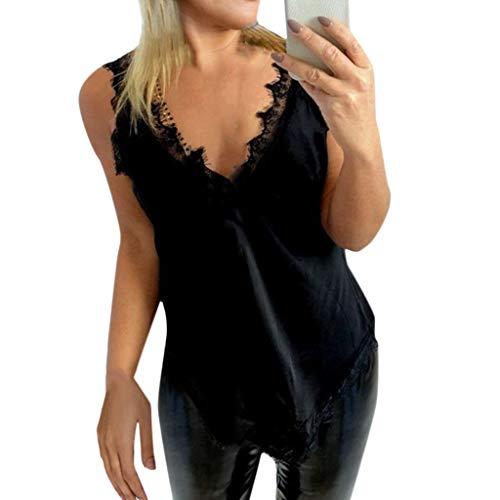 Women Cuasal Soild Tank Top Lace Trim Deep V Camis Blouse Sleeveless Strap Halter Shirt Vest -