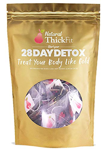 Natural ThickFit 28 Day Detox Tea: Shrink Belly Fat While Shaping Your Curves Cleanse w/ 14-All Superfoods Slimming…
