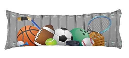Sports Pillowcase (Sports Locker Body Pillow Cover Cases Pillowcase Decorative with Zip Grey 20 x 54 for)