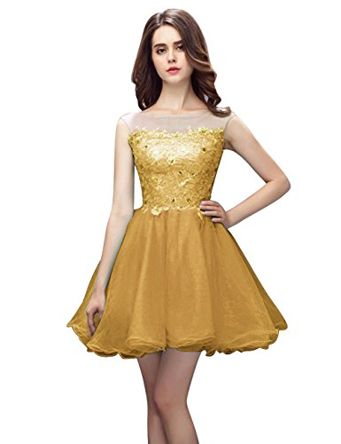 JAEDEN Gown Homecoming Dress Short Party Sleeveless Tulle Gold Lace Cocktail Dress Prom avwaRrq
