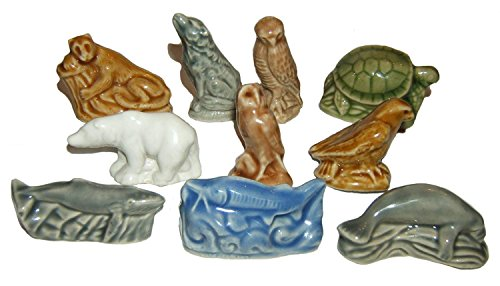 Endangered North American Animals - Wade / Red Rose Tea American Set #5 - Complete Set of 10 Figurines (Bald Eagle, Florida Panther, Green Sea Turtle, Humpback Whale, Manatee, Peregrine Falcon, Polar Bear, Spotted Owl, Sturgeon, Timber Wolf)