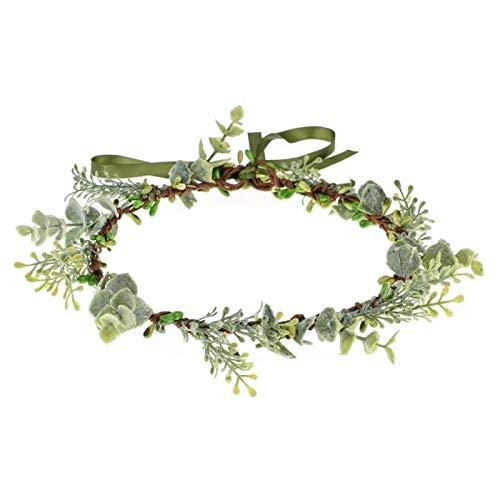 Vividsun Bridal Green Leaf flower Crown Eucalyptus Floral Headband Wedding Festivals Photo Props (Green leaf)